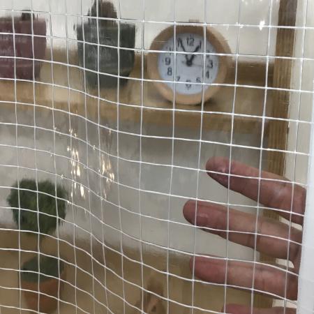 耐候(薄手)の糸入り透明ビニールカーテン(VP-350H)アップ透明度