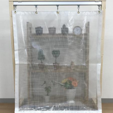 耐候(軽量)の糸入り透明ビニールカーテン(VP-380A)の近距離透明度