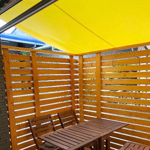 岡山県岡山市|製作事例|雨よけテント(ウッドデッキ)