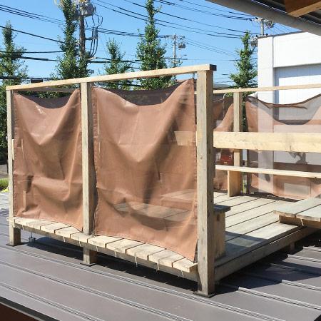 岐阜県各務原市|製作事例|月見台の目隠しタープ