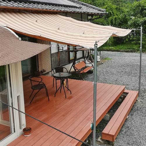 熊本県宇城市|製作事例|日よけテント(ウッドデッキ)